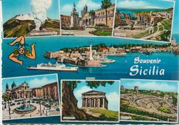 1-Saluti Dalla Sicilia-Souvenir-/ Vedutine:Etna,Palermo,Messina,Catania,Agrigento,Siracusa-v.1971 X Catania - Italia