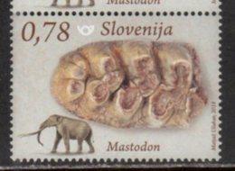 SLOVENIA , 2018, MNH, PREHISTORIC FAUNA, MASTODON, ELEPHANTS,  FOSSILS, 1v - Stamps