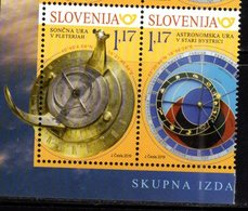 SLOVENIA , 2019, MNH, JOINT ISSUE WITH SLOVAKIA, SUNDIALS, ASTRONOMICAL CLOCKS, 2v - Joint Issues