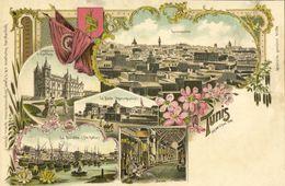 Tunisia, TUNIS, Cathedral, Bazar, Harbour, Flag (1899) Multiview Litho Postcard - Tunesië