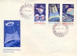 Romania 1965 FDC Space Achievements By USSR And USA Voskhod 2 - Early Bird - Gemini 3 - FDC & Commemorrativi