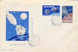 Romania 1969 FDC Lunar Landing Module Of Apollo 9 And 10 - FDC & Commemorrativi