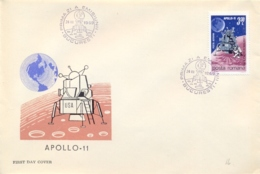 Romania 1969 FDC First Man On The Moon By Apollo 11 - FDC & Commemorrativi