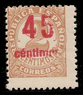 Edifil Especializado 743 Hcca** 45 Ctos Sobre 2 Ctos Castaño Cifras  1938  NL339 - 1931-Hoy: 2ª República - ... Juan Carlos I