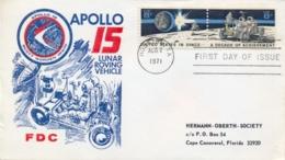 USA 1971 FDC Pair Apollo15 Lunar Rover Vehicle - FDC & Commemorrativi