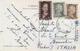 Argentina 1953 Picture Postcard To Italy With Eva Peron 5 C. + 50 C. + 1 Peso - Donne Celebri