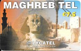 CARTE-PREPAYEE-7.5€-LYCATEL-MAGHREB-SPHINX-Exp 25/12/2015-R° Glacé-GRATTE- TBE - France
