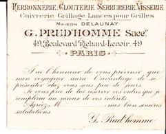 Ferronnerie Clouterie Serrurerie Visserie Cuivrerie Grillage Lances Pour Grilles Maison Delaunay. G. Prud'Homme. Paris. - Pubblicitari