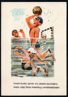 C4757 - Humor Scherzkarte - Wasserball - Quell Kunst Cossebaude - DDR Grafik - Humor
