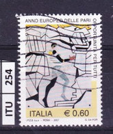 ITALIA REPUBBLICA  2007, Pari Opportunità, Usato - 6. 1946-.. Repubblica