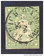 Suisse  -  1854  :  Yv  30  (o)   Fil Vert                ,        N2 - 1854-1862 Helvetia (Ungezähnt)