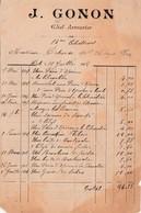 Petite Facture 1908 / J. GONON / Chef Armurier 14ème Chasseurs / Vente éperons, Garde De Sabre, Revolver /39 Dole Jura - France