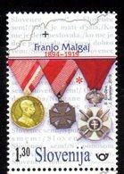 SLOVENIA , 2019, MNH,WAR HEROES, FRANJO MALGAJ, MEDALS, MILITARY,1v - Famous People