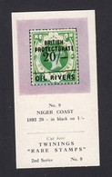 Twinings Tea Card Rare Stamps 2nd Series No 9 Niger Coast 1893 20/- In Black On 1/- - Stamps