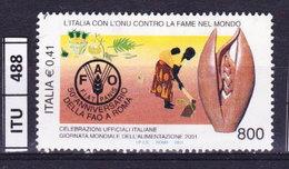 ITALIA REPUBBLICA  2001, FAO, Usato - 6. 1946-.. Repubblica
