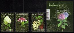 SLOVENIA , 2019, MNH, FLOWERS, HYDRANGEAS, 3v+S/SHEET - Plants