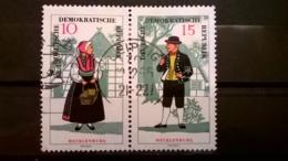 FRANCOBOLLI STAMPS GERMANIA DEUTSCHE DDR 1966 USED SERIE COSTUMI FOLK BLOCCO  GERMANY - [6] Repubblica Democratica