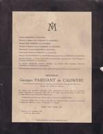 UCCLE Georges PARIDANT De CAUWERE Vice-président Tribunal Bruxelles 77 Ans 1939 Famille COOMANS De BRACHENE - Décès