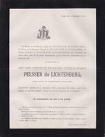 ZOLDER LIEGE Adélaide PELSSER De LICHTENBERG 93 Ans 1883 Famille De VILLENFAGNE De VOGELSANCK - Décès