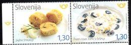 SLOVENIA , 2018, MNH,FOOD, EGG STRUKLJI, SOUP WOTH PASTA STRIPS AND PLUMS, 2v - Food