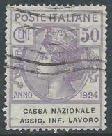 1924 REGNO ENTE PARASTATALE USATO ASSIC INF LAVORO 50 CENT SASSONE 21 - M48 - 1900-44 Vittorio Emanuele III