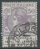 1924 REGNO ENTE PARASTATALE USATO ASSIC INF LAVORO 50 CENT SASSONE 21 - M48-2 - 1900-44 Vittorio Emanuele III