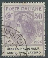 1924 REGNO ENTE PARASTATALE USATO ASSIC INF LAVORO 50 CENT SASSONE 21 - M48-6 - 1900-44 Vittorio Emanuele III
