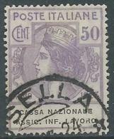 1924 REGNO ENTE PARASTATALE USATO ASSIC INF LAVORO 50 CENT SASSONE 21 - M48-7 - 1900-44 Vittorio Emanuele III