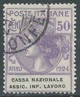 1924 REGNO ENTE PARASTATALE USATO ASSIC INF LAVORO 50 CENT SASSONE 21 - M48-8 - 1900-44 Vittorio Emanuele III