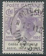 1924 REGNO ENTE PARASTATALE USATO ASSIC INF LAVORO 50 CENT SASSONE 21 - M48-9 - 1900-44 Vittorio Emanuele III