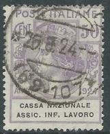 1924 REGNO ENTE PARASTATALE USATO ASSIC INF LAVORO 50 CENT SASSONE 21 - M49 - 1900-44 Vittorio Emanuele III