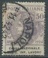 1924 REGNO ENTE PARASTATALE USATO ASSIC INF LAVORO 50 CENT SASSONE 21 - M49-3 - 1900-44 Vittorio Emanuele III