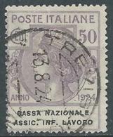 1924 REGNO ENTE PARASTATALE USATO ASSIC INF LAVORO 50 CENT SASSONE 21 - M49-4 - 1900-44 Vittorio Emanuele III