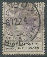 1924 REGNO ENTE PARASTATALE USATO ASSIC INF LAVORO 50 CENT SASSONE 21 - M49-5 - 1900-44 Vittorio Emanuele III