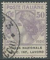 1924 REGNO ENTE PARASTATALE USATO ASSIC INF LAVORO 50 CENT SASSONE 21 - M49-6 - 1900-44 Vittorio Emanuele III