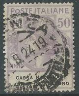 1924 REGNO ENTE PARASTATALE USATO ASSIC INF LAVORO 50 CENT SASSONE 21 - M49-7 - 1900-44 Vittorio Emanuele III