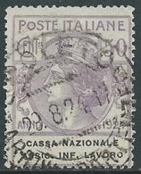 1924 REGNO ENTE PARASTATALE USATO ASSIC INF LAVORO 50 CENT SASSONE 21 - M49-8 - 1900-44 Vittorio Emanuele III