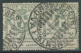 1924 REGNO ENTE PARASTATALE USATO ASSIC INF LAVORO 5 CENT SASS 17 COPPIA - M49-8 - 1900-44 Vittorio Emanuele III