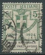 1924 REGNO ENTE PARASTATALE USATO ASSIC INF LAVORO 5 CENT SASSONE 17 - M48 - 1900-44 Vittorio Emanuele III