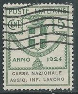 1924 REGNO ENTE PARASTATALE USATO ASSIC INF LAVORO 5 CENT SASSONE 17 - M48-2 - 1900-44 Vittorio Emanuele III