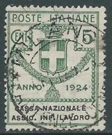 1924 REGNO ENTE PARASTATALE USATO ASSIC INF LAVORO 5 CENT SASSONE 17 - M48-3 - 1900-44 Vittorio Emanuele III