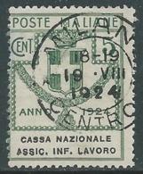 1924 REGNO ENTE PARASTATALE USATO ASSIC INF LAVORO 5 CENT SASSONE 17 - M48-4 - 1900-44 Vittorio Emanuele III