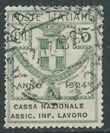 1924 REGNO ENTE PARASTATALE USATO ASSIC INF LAVORO 5 CENT SASSONE 17 - M48-6 - 1900-44 Vittorio Emanuele III