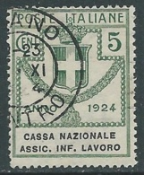 1924 REGNO ENTE PARASTATALE USATO ASSIC INF LAVORO 5 CENT SASSONE 17 - M48-7 - 1900-44 Vittorio Emanuele III