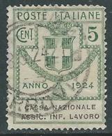 1924 REGNO ENTE PARASTATALE USATO ASSIC INF LAVORO 5 CENT SASSONE 17 - M48-8 - 1900-44 Vittorio Emanuele III