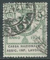 1924 REGNO ENTE PARASTATALE USATO ASSIC INF LAVORO 5 CENT SASSONE 17 - M48-9 - 1900-44 Vittorio Emanuele III