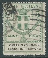 1924 REGNO ENTE PARASTATALE USATO ASSIC INF LAVORO 5 CENT SASSONE 17 - M49-2 - 1900-44 Vittorio Emanuele III