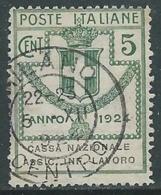 1924 REGNO ENTE PARASTATALE USATO ASSIC INF LAVORO 5 CENT SASSONE 17 - M49-3 - 1900-44 Vittorio Emanuele III