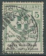 1924 REGNO ENTE PARASTATALE USATO ASSIC INF LAVORO 5 CENT SASSONE 17 - M49-5 - 1900-44 Vittorio Emanuele III