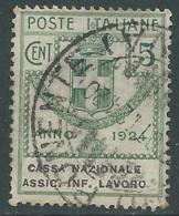 1924 REGNO ENTE PARASTATALE USATO ASSIC INF LAVORO 5 CENT SASSONE 17 - M49-6 - 1900-44 Vittorio Emanuele III